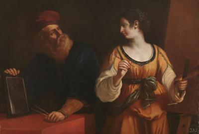 Tiziano y la Pintura o El Dibujo y la Pintura, atribuida a Guercino